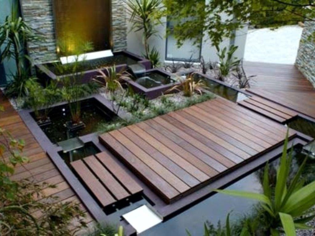 Modern regular pond on the terrace