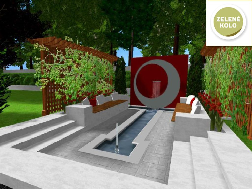 Design of a water feature with a rest area