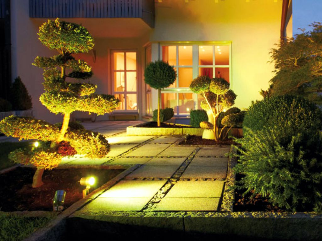 Decorative lighting of the terrace area in the garden