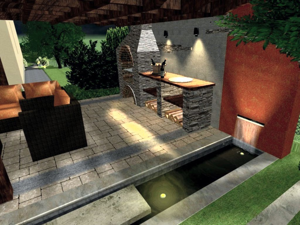 Pergola with fireplace, water feature and lighting at night