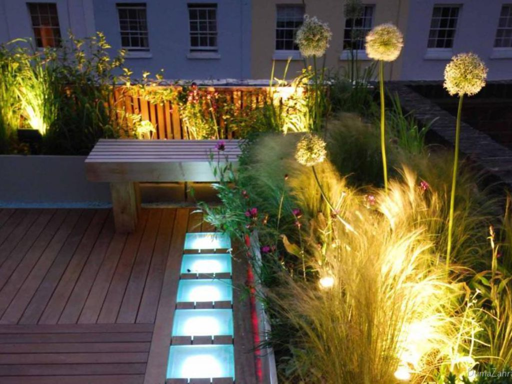 Practically illuminated terrace for evening parties