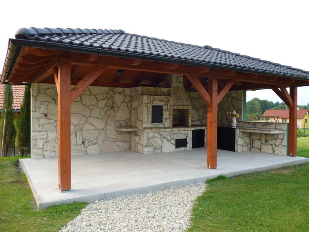 Gazebo with outdoor fireplace and smokehouse and small attention