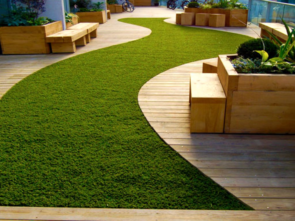 Rooftop urban garden for summer relaxation