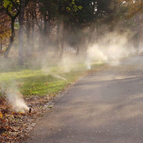 Winterization of the irrigation system in a public park - blow-off