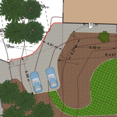 Dimensioning of the garden and paved areas for landscaping.