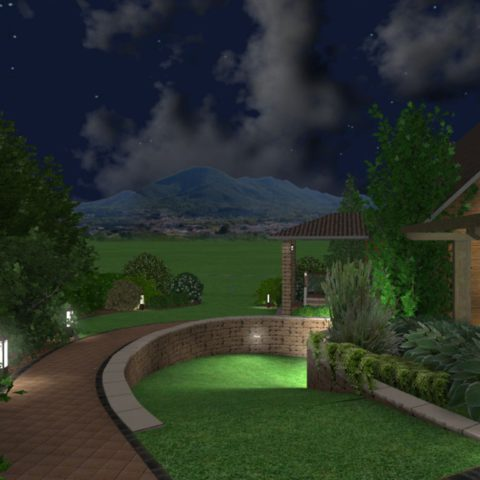 Visualization of lighting in the garden project of the entrance part