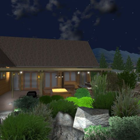 Visualization of lighting in a garden project