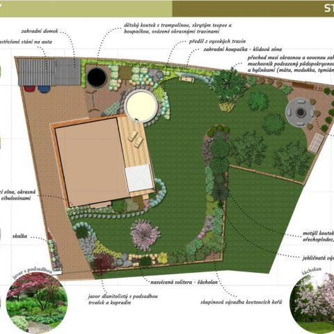 3D study of garden floor plan
