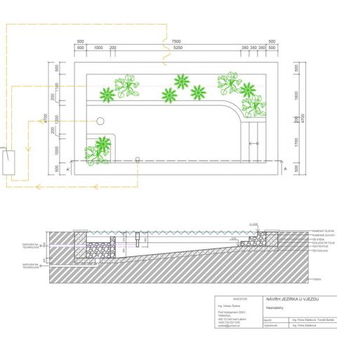 Floor plan of the technical detail and section of a garden pond