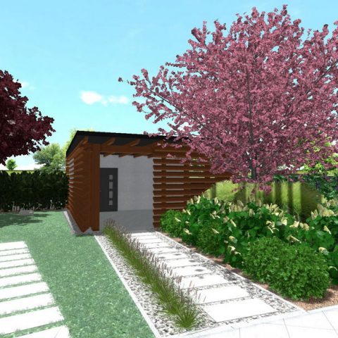 Arrival from the garage with large format tiles and gravel grasses