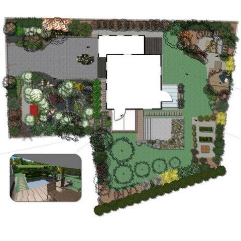 Garden floor plan with view