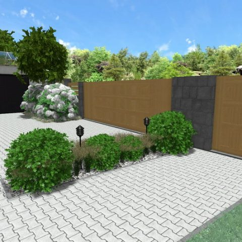 We reduce the paved area - an island with shaped holly, grasses and lighting