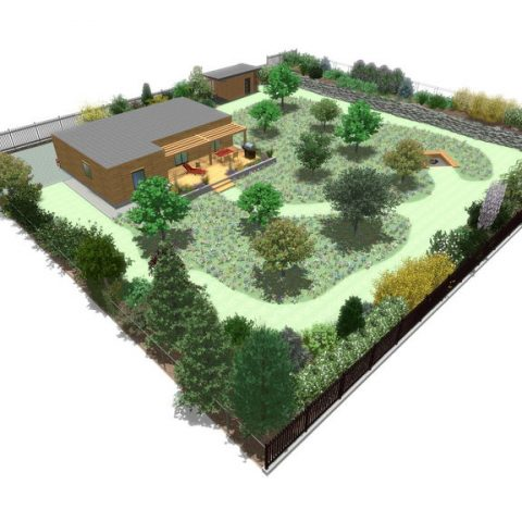 Moderate garden with lawn and fireplace
